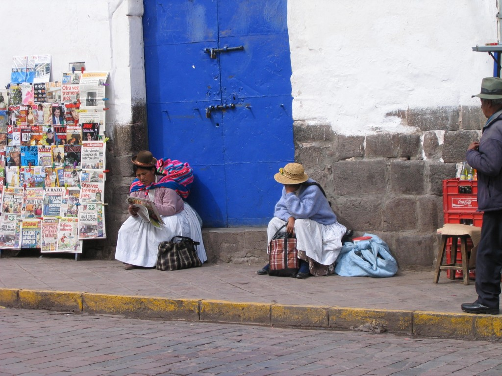 Two women in downtown Cusco.