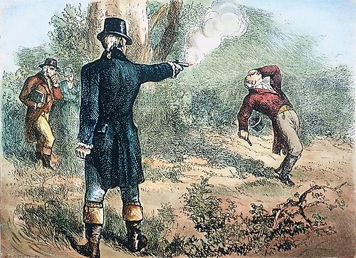 Aaron Burr kills Alexander Hamilton.