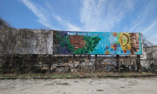 Mural reads: They tried to bury us, but we were seeds