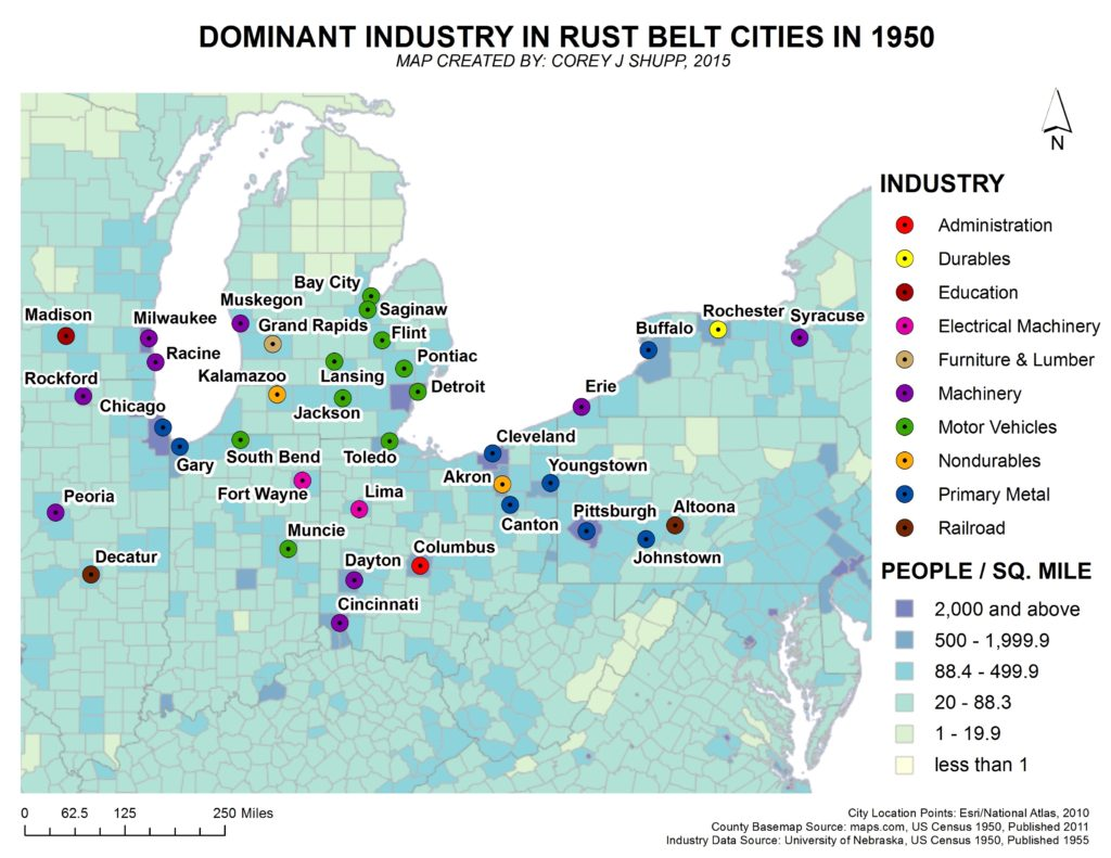 March 2016, Dominant Industries In Rust Belt Cities In 1950.