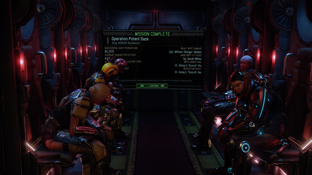 XCOM operatives saddened by an empty chair on the ride home.